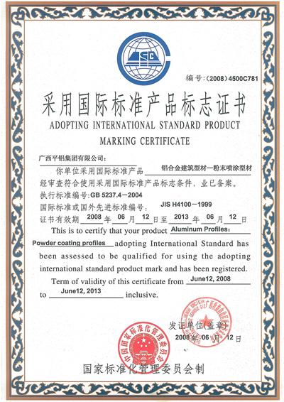 Product Marking Certificate: Powder Coating Profiles